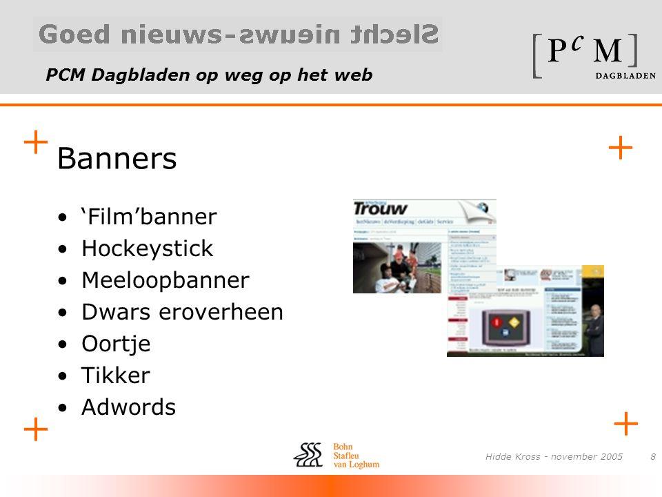 PCM Dagbladen op weg op het web + + + + Hidde Kross - november 20058 Banners •'Film'banner •Hockeystick •Meeloopbanner •Dwars eroverheen •Oortje •Tikk