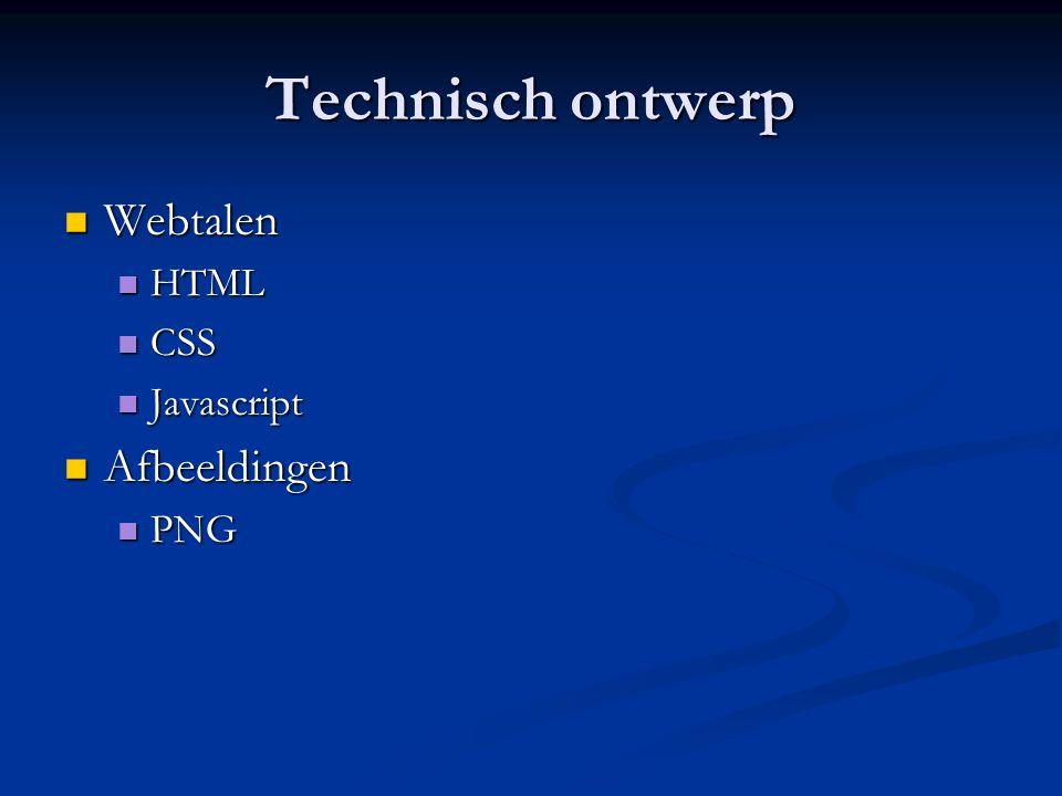 Technisch ontwerp  Webtalen  HTML  CSS  Javascript  Afbeeldingen  PNG