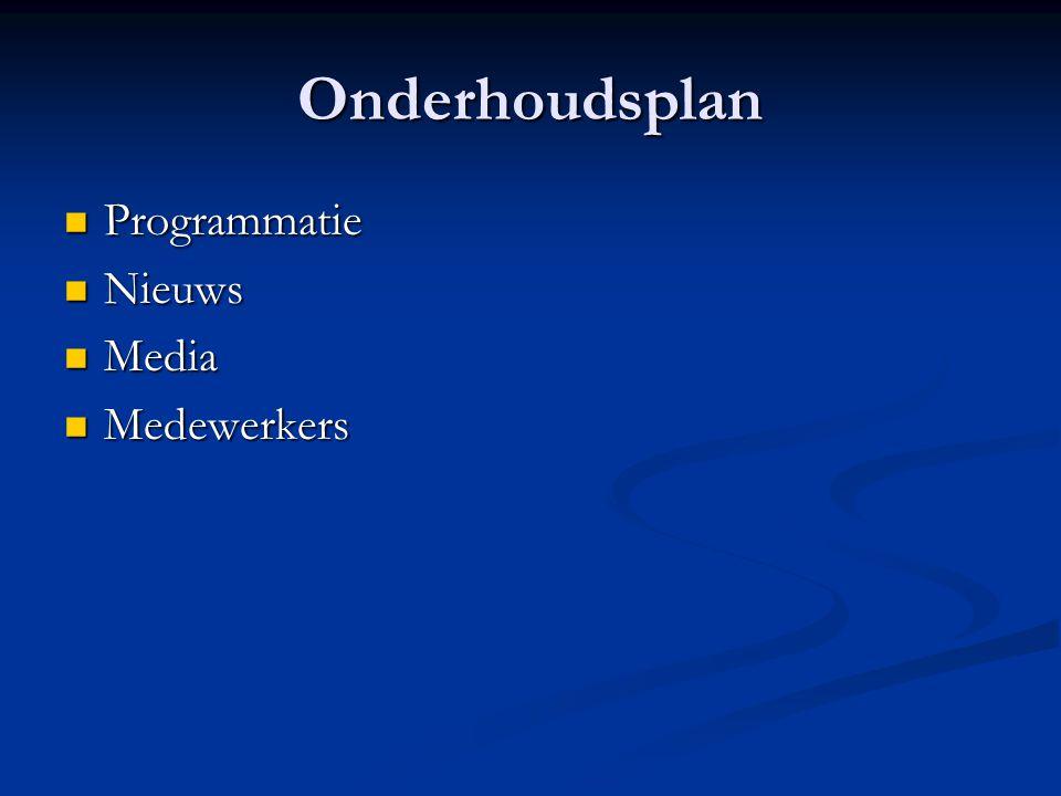 Onderhoudsplan  Programmatie  Nieuws  Media  Medewerkers