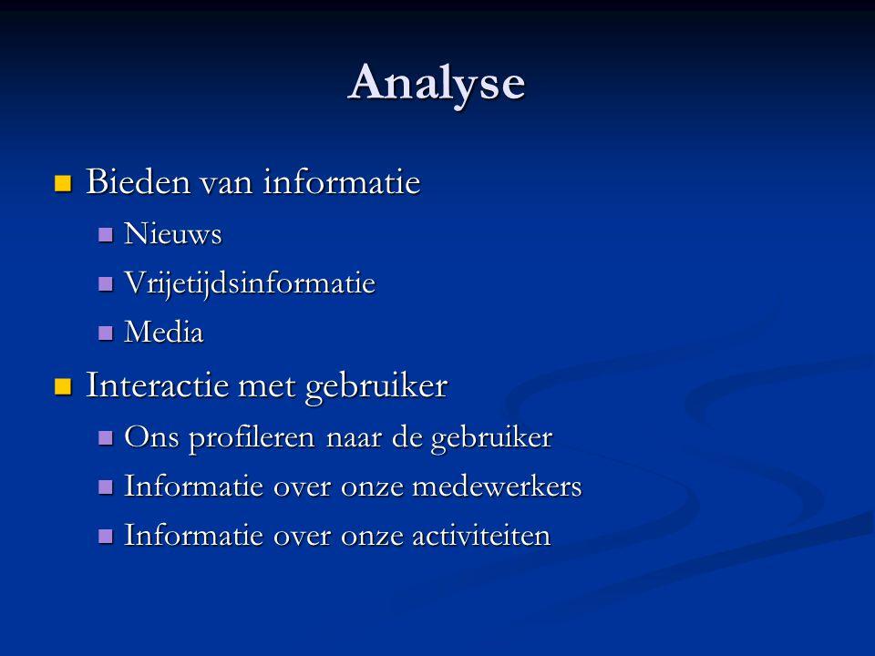 Analyse  Bieden van informatie  Nieuws  Vrijetijdsinformatie  Media  Interactie met gebruiker  Ons profileren naar de gebruiker  Informatie over onze medewerkers  Informatie over onze activiteiten