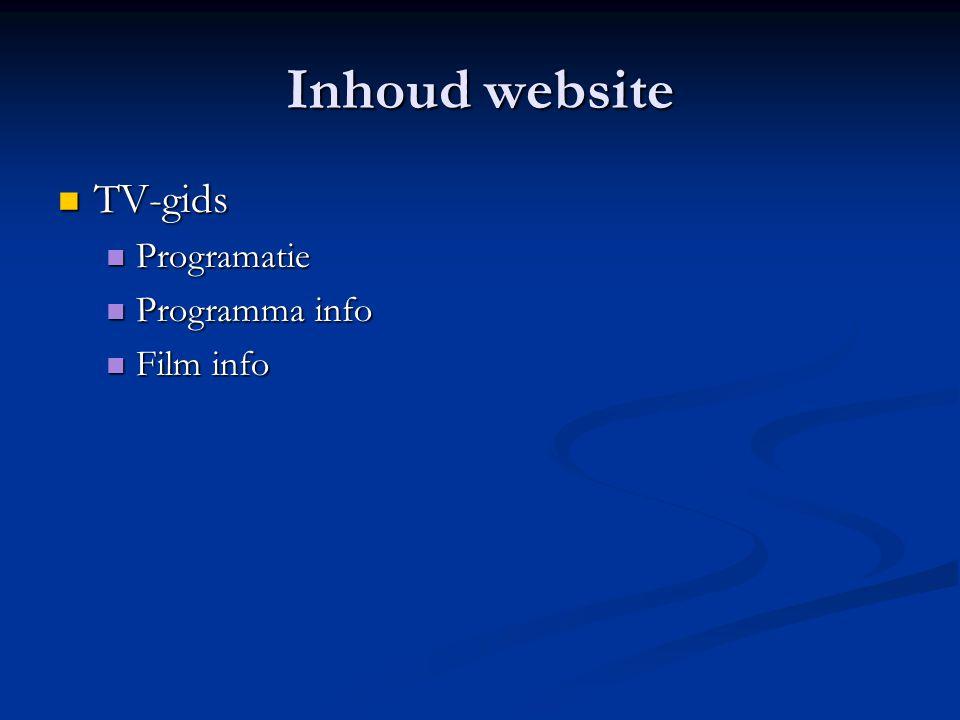 Inhoud website  TV-gids  Programatie  Programma info  Film info