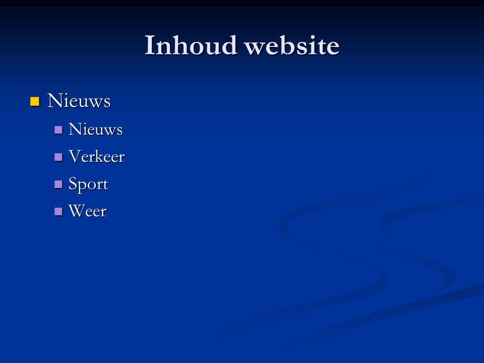 Inhoud website  Nieuws  Verkeer  Sport  Weer