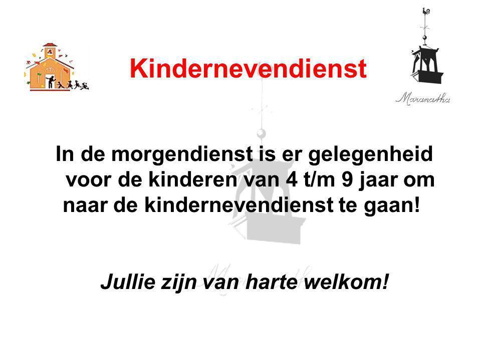 In de morgendienst is er gelegenheid voor de kinderen van 4 t/m 9 jaar om naar de kindernevendienst te gaan.
