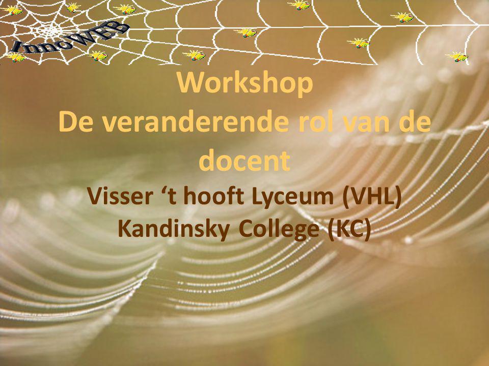 Workshop De veranderende rol van de docent Visser 't hooft Lyceum (VHL) Kandinsky College (KC)