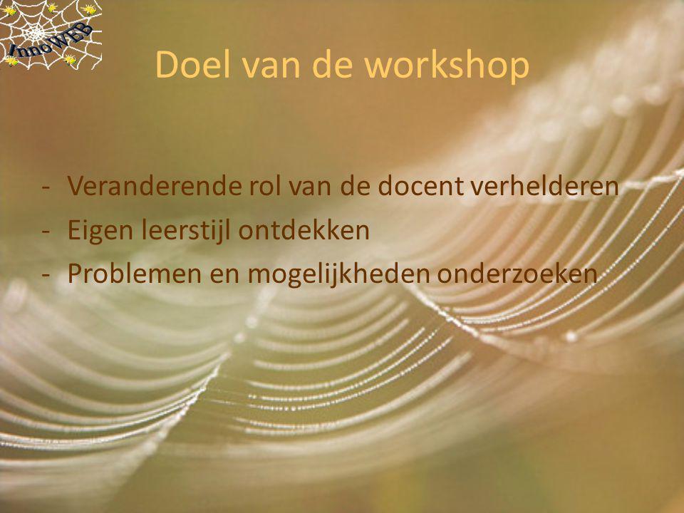 Doel van de workshop -Veranderende rol van de docent verhelderen -Eigen leerstijl ontdekken -Problemen en mogelijkheden onderzoeken