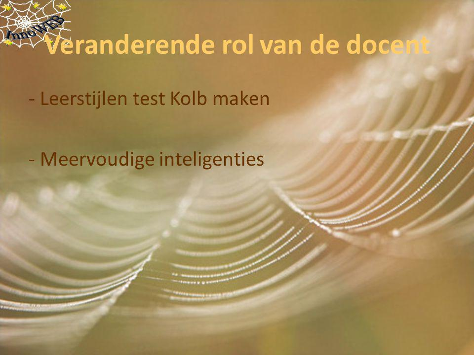 Veranderende rol van de docent - Leerstijlen test Kolb maken - Meervoudige inteligenties
