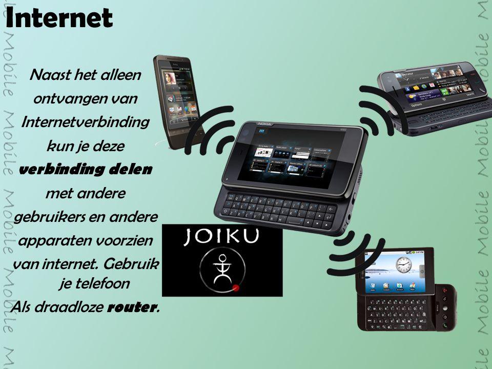 Internet Naast het alleen ontvangen van Internetverbinding kun je deze verbinding delen met andere gebruikers en andere apparaten voorzien van internet.