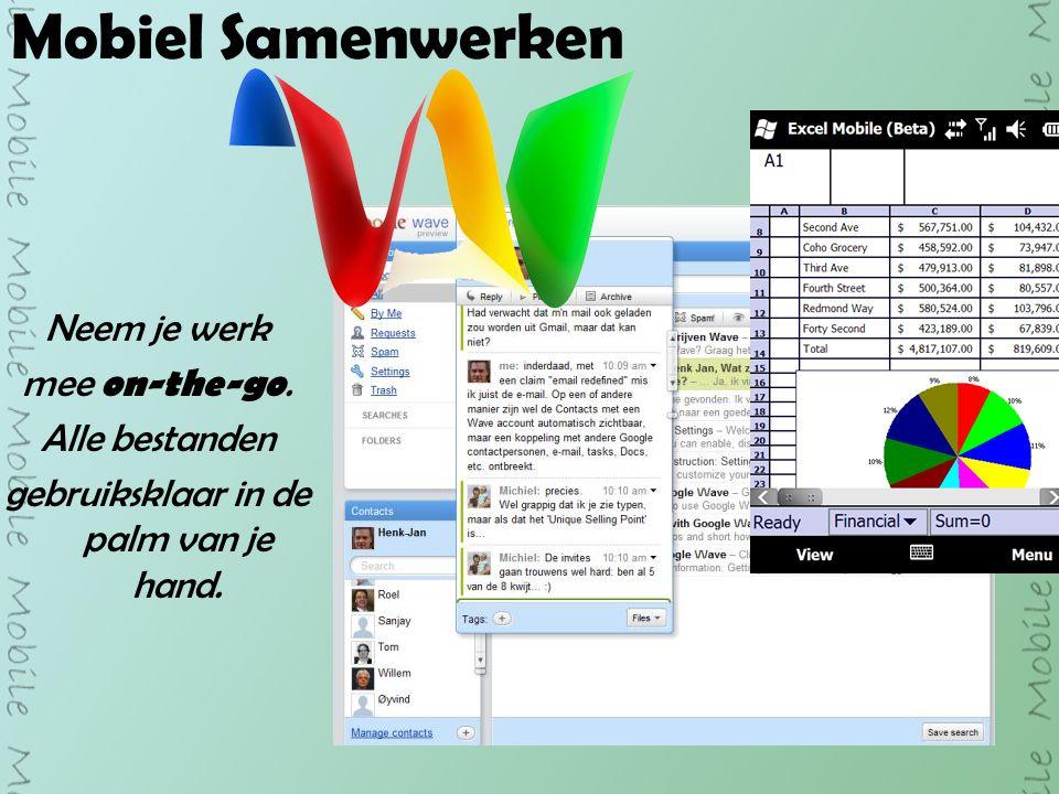 Mobiel Samenwerken Neem je werk mee on-the-go. Alle bestanden gebruiksklaar in de palm van je hand.