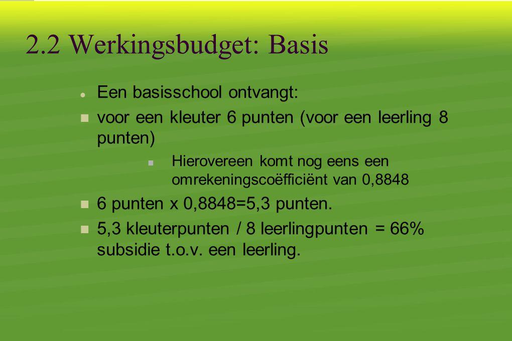 2.2 Werkingsbudget: Basis  Een basisschool ontvangt:  voor een kleuter 6 punten (voor een leerling 8 punten)  Hierovereen komt nog eens een omrekeningscoëfficiënt van 0,8848  6 punten x 0,8848=5,3 punten.