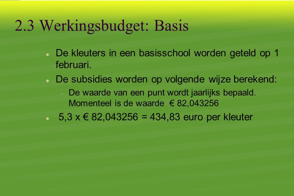 2.3 Werkingsbudget: Basis  De kleuters in een basisschool worden geteld op 1 februari.