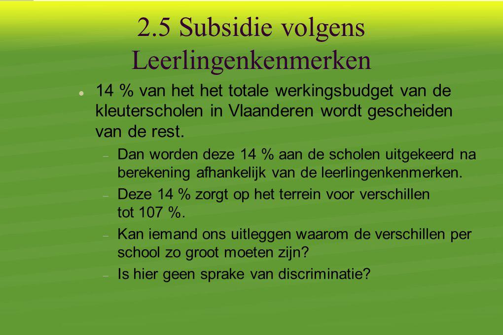 2.5 Subsidie volgens Leerlingenkenmerken  14 % van het het totale werkingsbudget van de kleuterscholen in Vlaanderen wordt gescheiden van de rest.