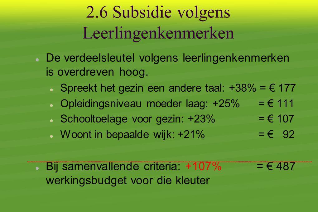 2.6 Subsidie volgens Leerlingenkenmerken  De verdeelsleutel volgens leerlingenkenmerken is overdreven hoog.