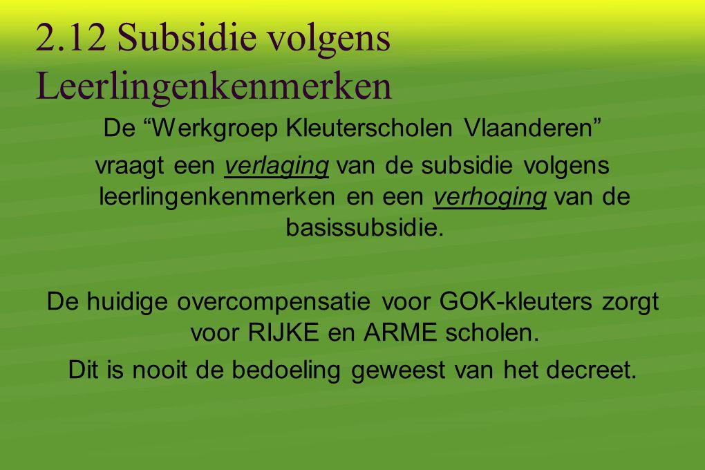 2.12 Subsidie volgens Leerlingenkenmerken De Werkgroep Kleuterscholen Vlaanderen vraagt een verlaging van de subsidie volgens leerlingenkenmerken en een verhoging van de basissubsidie.