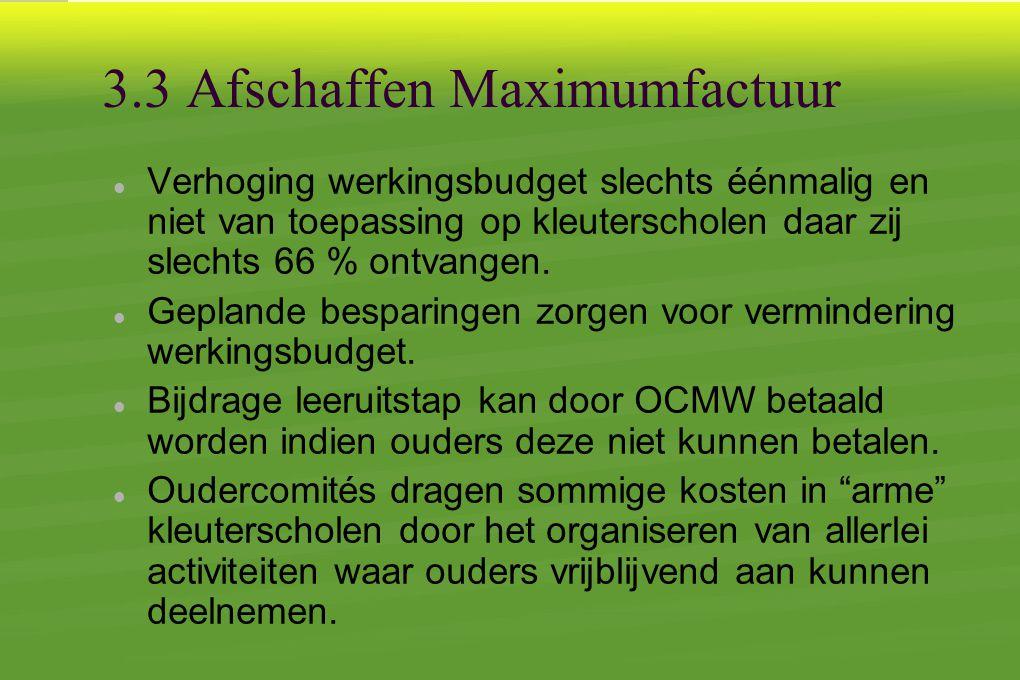 3.3 Afschaffen Maximumfactuur  Verhoging werkingsbudget slechts éénmalig en niet van toepassing op kleuterscholen daar zij slechts 66 % ontvangen.