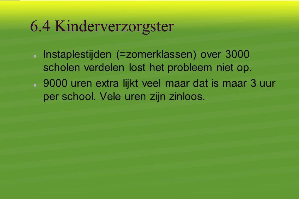 6.4 Kinderverzorgster  Instaplestijden (=zomerklassen) over 3000 scholen verdelen lost het probleem niet op.