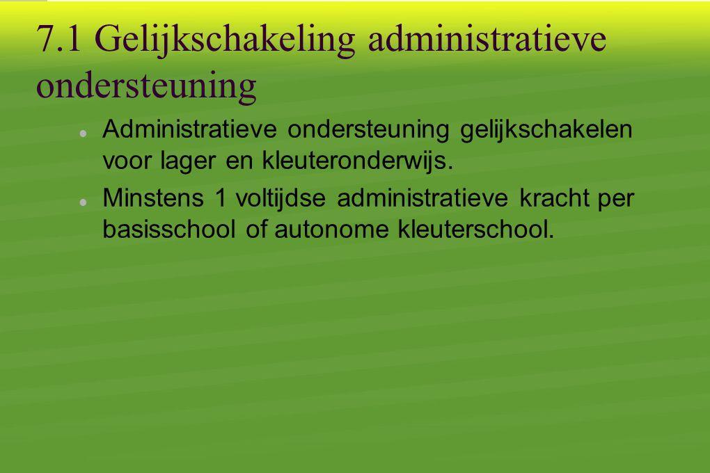 7.1 Gelijkschakeling administratieve ondersteuning  Administratieve ondersteuning gelijkschakelen voor lager en kleuteronderwijs.