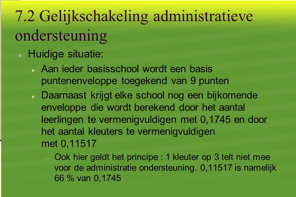 7.2 Gelijkschakeling administratieve ondersteuning  Huidige situatie:  Aan ieder basisschool wordt een basis puntenenveloppe toegekend van 9 punten  Daarnaast krijgt elke school nog een bijkomende enveloppe die wordt berekend door het aantal leerlingen te vermenigvuldigen met 0,1745 en door het aantal kleuters te vermenigvuldigen met 0,11517  Ook hier geldt het principe : 1 kleuter op 3 telt niet mee voor de administratie ondersteuning.