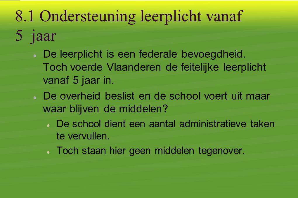 8.1 Ondersteuning leerplicht vanaf 5 jaar  De leerplicht is een federale bevoegdheid.