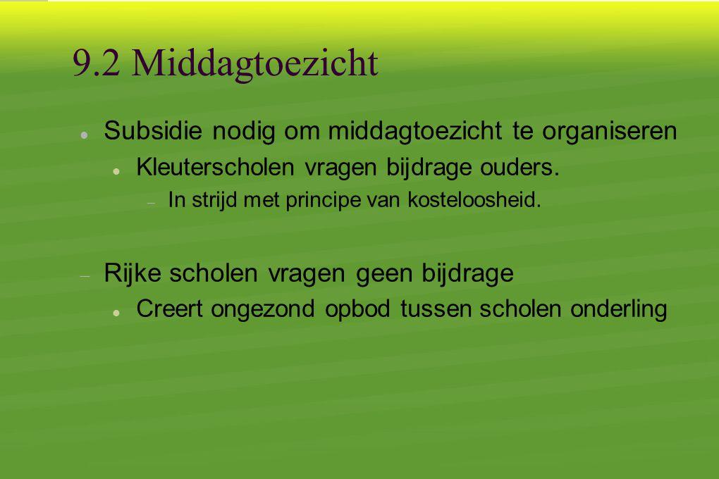 9.2 Middagtoezicht  Subsidie nodig om middagtoezicht te organiseren  Kleuterscholen vragen bijdrage ouders.