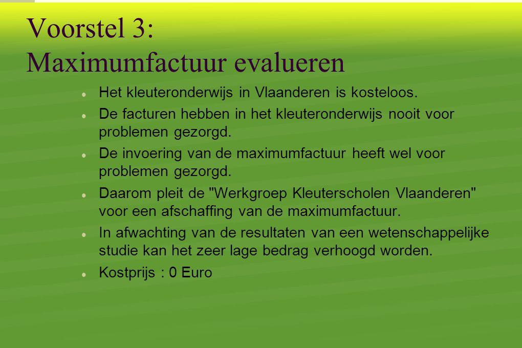 Voorstel 3: Maximumfactuur evalueren  Het kleuteronderwijs in Vlaanderen is kosteloos.