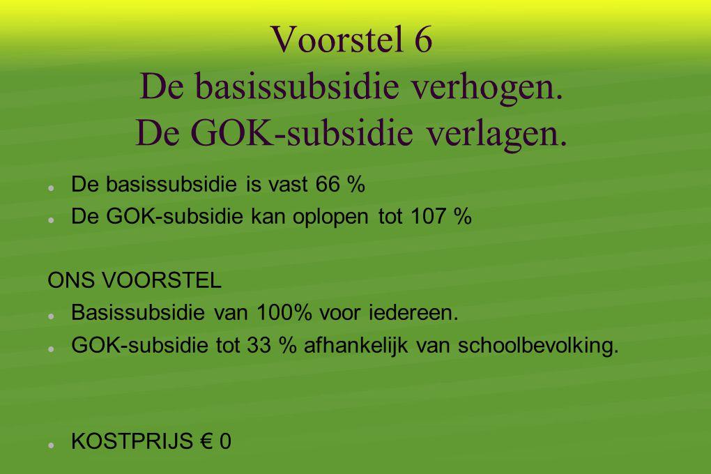 Voorstel 6 De basissubsidie verhogen.De GOK-subsidie verlagen.