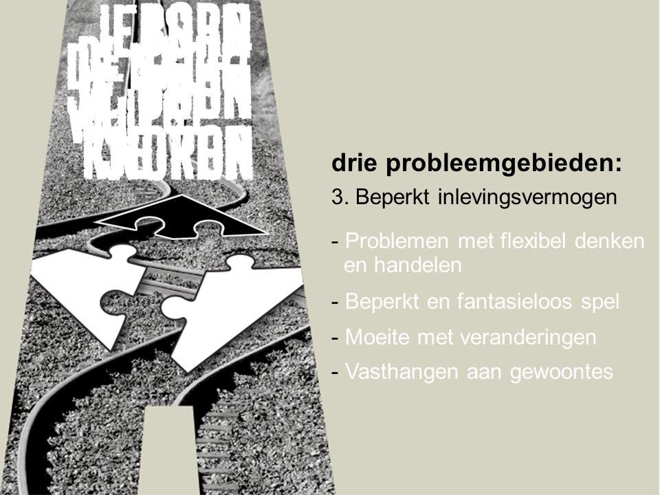 drie probleemgebieden: 3. Beperkt inlevingsvermogen - Problemen met flexibel denken en handelen - Beperkt en fantasieloos spel - Moeite met veranderin