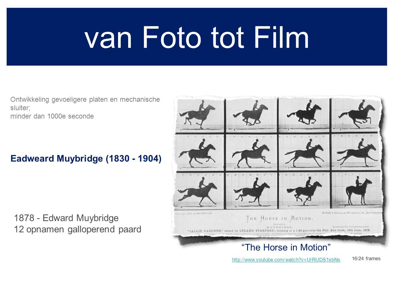 Kinetoscoop 28 december 1895 - Frankrijk, gebroeders Lumière Edison - Annabelle's dance (1894) kleur: http://www.youtube.com/watch?v=w7wEo4VcQ54http://www.youtube.com/watch?v=w7wEo4VcQ54 1888 Thomas Edison en William Kennedy Dickson de eerste filmprojector, de kinetoscoop.