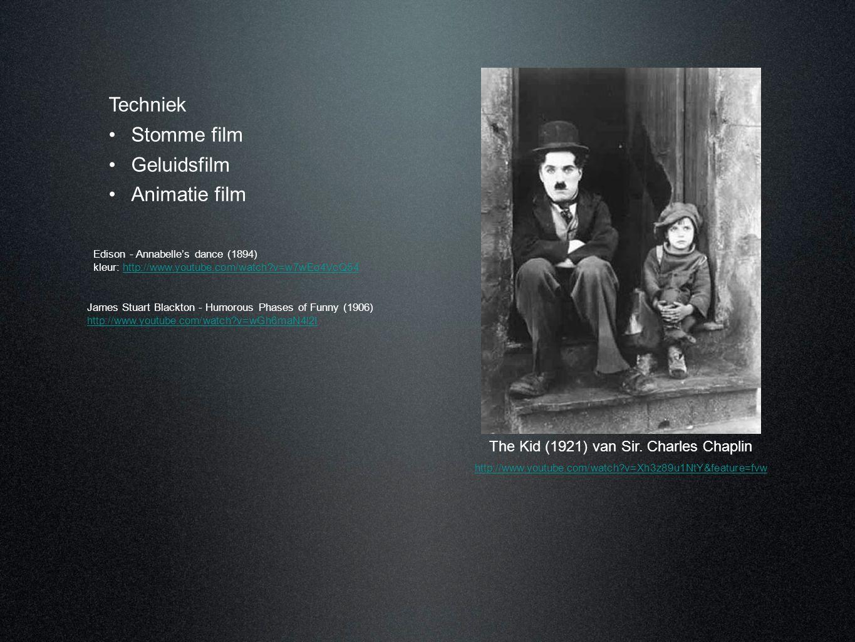 Techniek •Stomme film •Geluidsfilm •Animatie film Edison - Annabelle's dance (1894) kleur: http://www.youtube.com/watch?v=w7wEo4VcQ54http://www.youtub