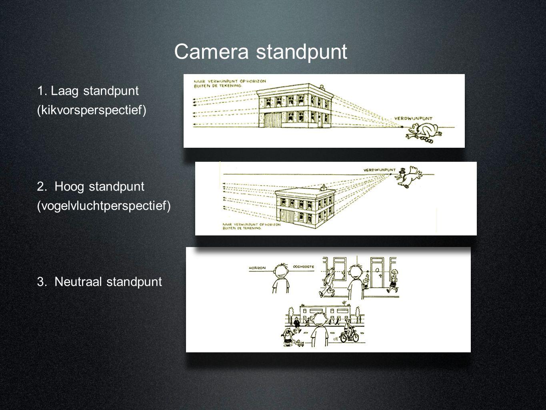 Camera standpunt 1. Laag standpunt (kikvorsperspectief) 2. Hoog standpunt (vogelvluchtperspectief) 3. Neutraal standpunt
