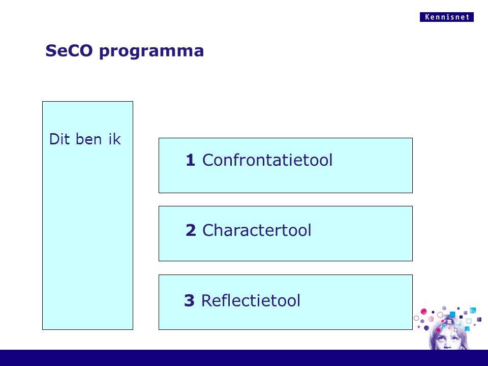 1 Confrontatietool 2 Charactertool Dit ben ik 3 Reflectietool SeCO programma