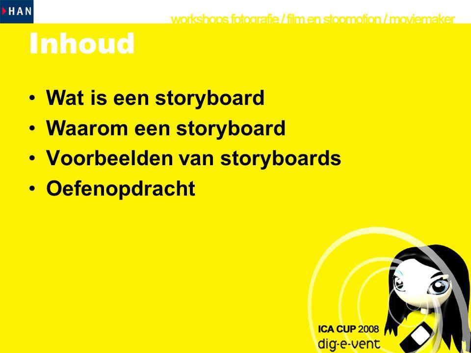 Wat is een storyboard •Uitgetekende scènes •Gedetailleerd of globaal •Aantekeningen ter verduidelijking •Stamt uit de begintijd van animaties