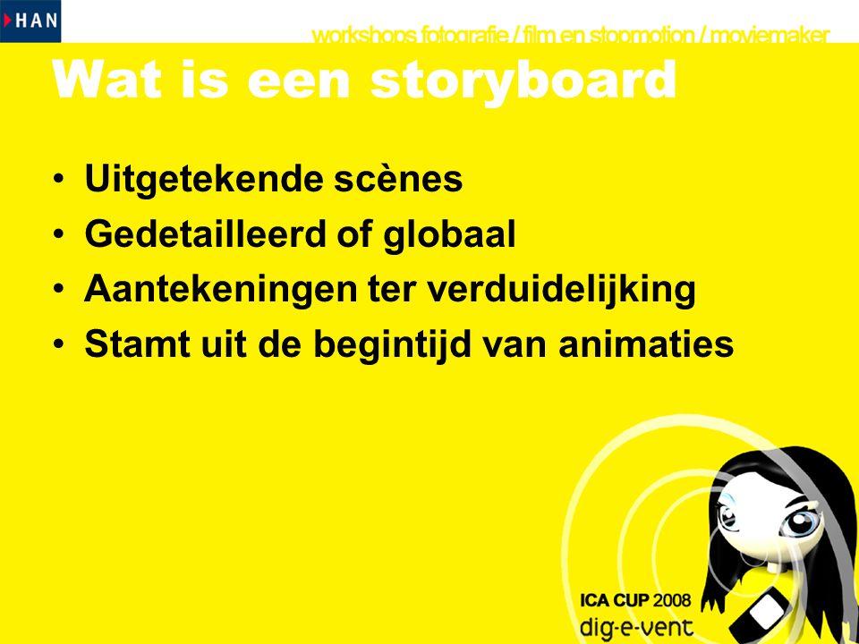 Waarom een Storyboard •Hulp voor regisseur en cameraman •Hulp voor jezelf