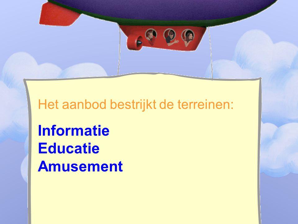 ____________________________ _______________________________ Het aanbod bestrijkt de terreinen: Informatie Educatie Amusement