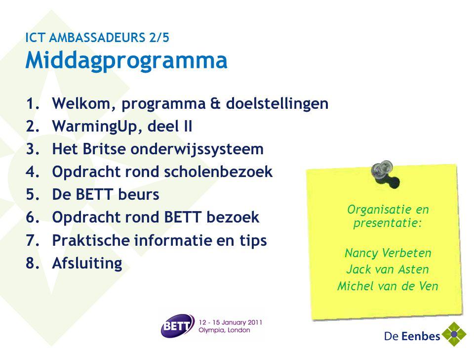 ICT AMBASSADEURS 2/5 Middagprogramma 1.Welkom, programma & doelstellingen 2.WarmingUp, deel II 3.Het Britse onderwijssysteem 4.Opdracht rond scholenbe