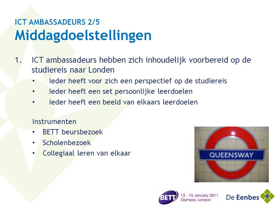 ICT AMBASSADEURS 2/5 Middagdoelstellingen 1.ICT ambassadeurs hebben zich inhoudelijk voorbereid op de studiereis naar Londen • Ieder heeft voor zich e