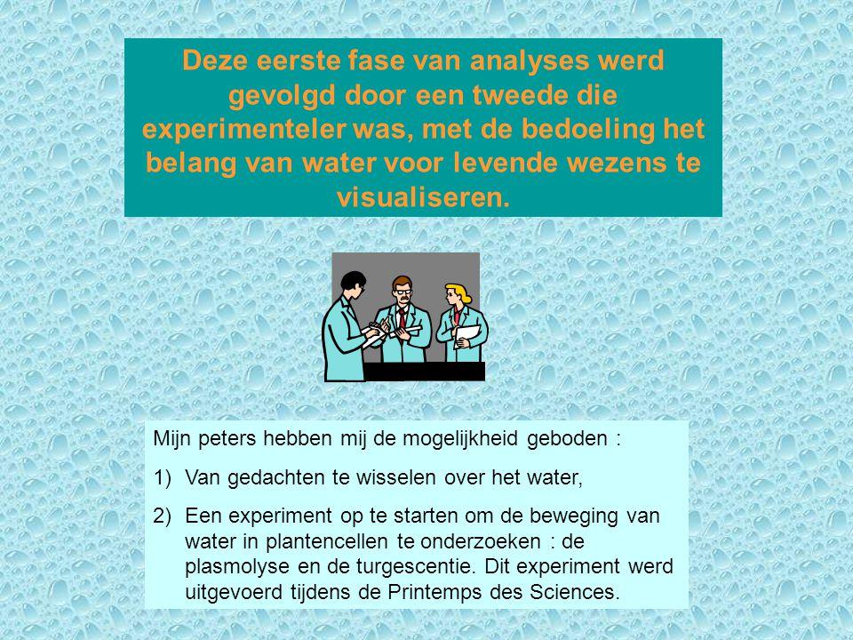 Deze eerste fase van analyses werd gevolgd door een tweede die experimenteler was, met de bedoeling het belang van water voor levende wezens te visual