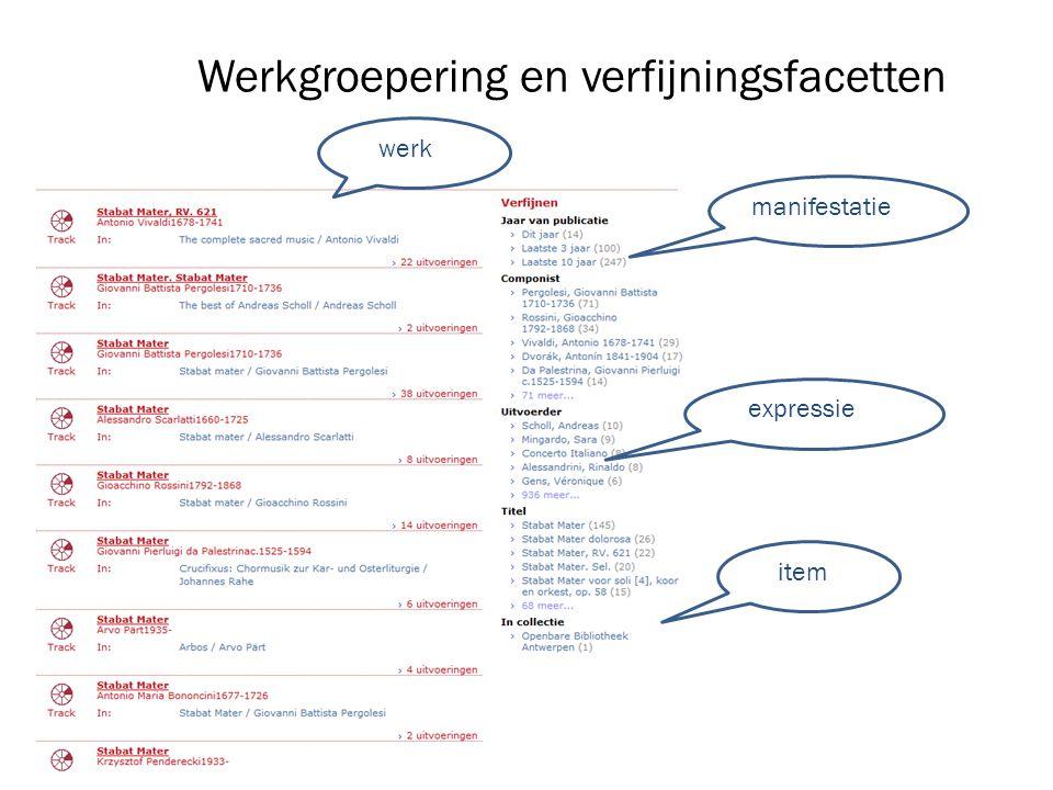 Werkgroepering en verfijningsfacetten werk manifestatie expressie item