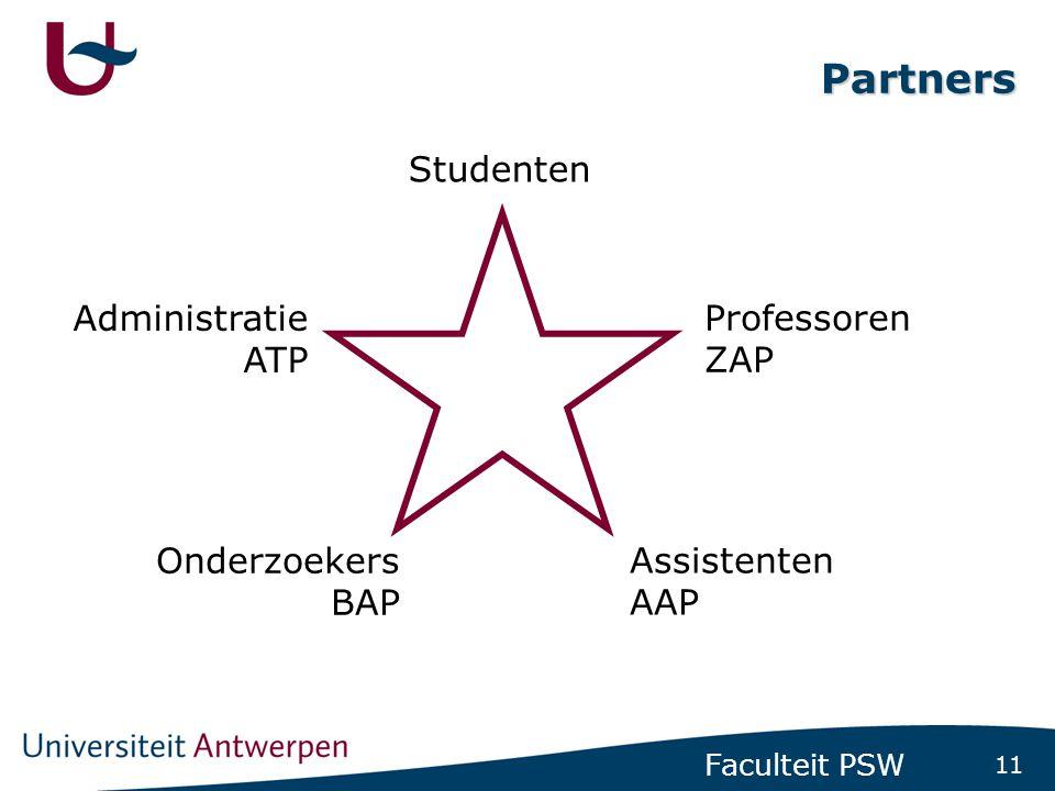 11 Faculteit PSW Partners Studenten Professoren ZAP Assistenten AAP Administratie ATP Onderzoekers BAP