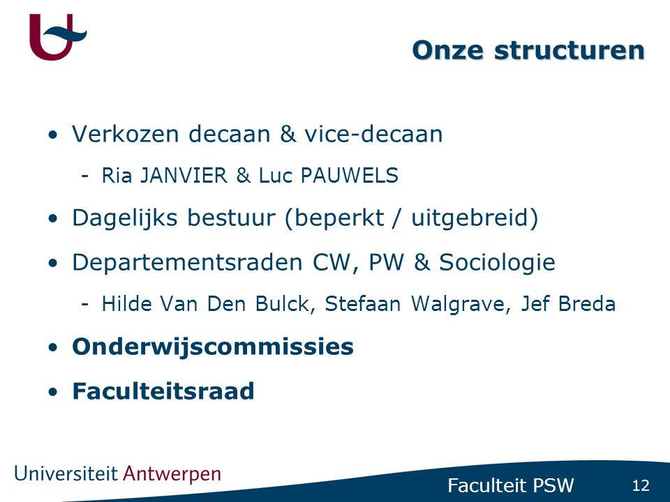 12 Faculteit PSW Onze structuren •Verkozen decaan & vice-decaan -Ria JANVIER & Luc PAUWELS •Dagelijks bestuur (beperkt / uitgebreid) •Departementsraden CW, PW & Sociologie -Hilde Van Den Bulck, Stefaan Walgrave, Jef Breda •Onderwijscommissies •Faculteitsraad