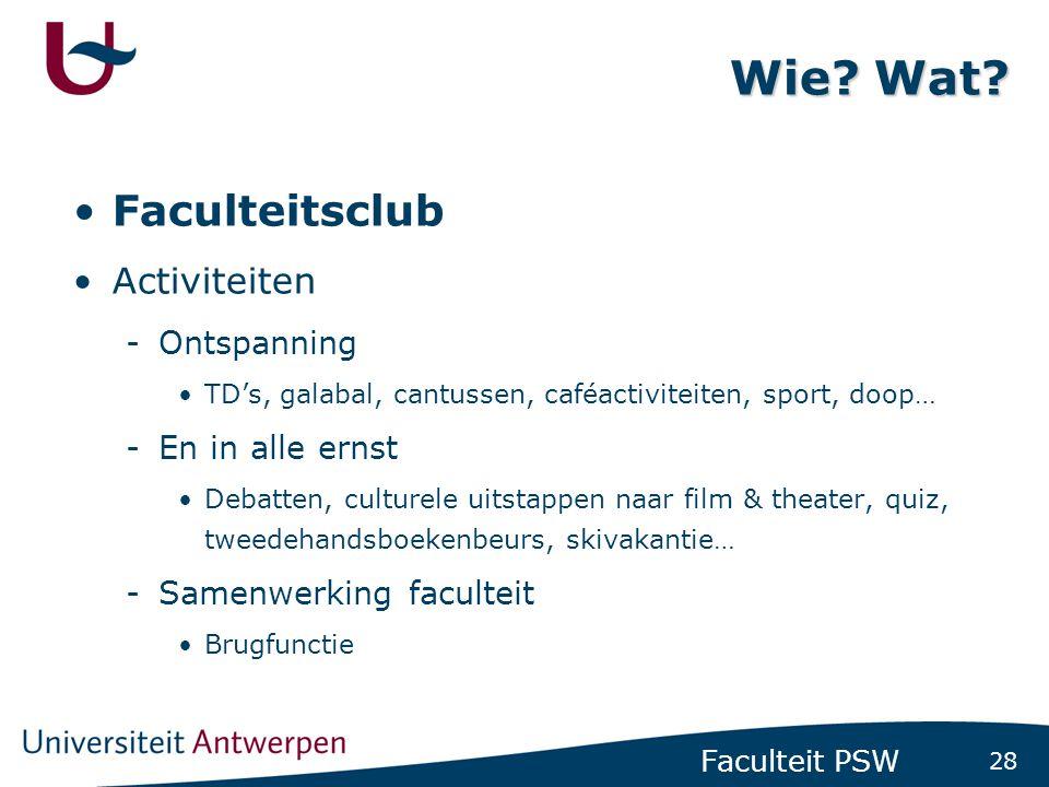28 Faculteit PSW Wie.Wat.