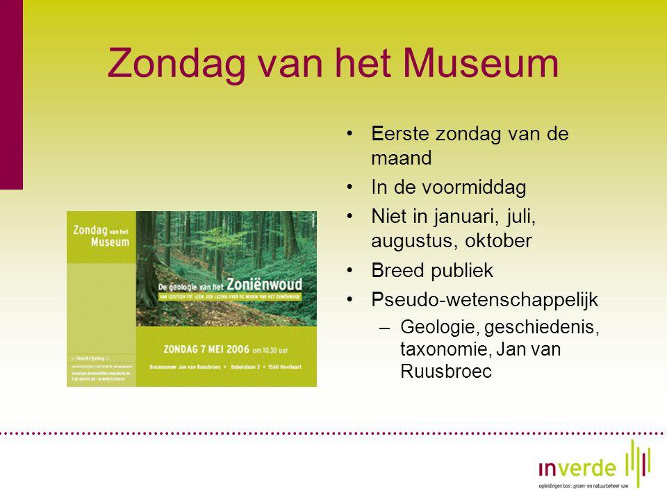 Zondag van het Museum •Eerste zondag van de maand •In de voormiddag •Niet in januari, juli, augustus, oktober •Breed publiek •Pseudo-wetenschappelijk –Geologie, geschiedenis, taxonomie, Jan van Ruusbroec