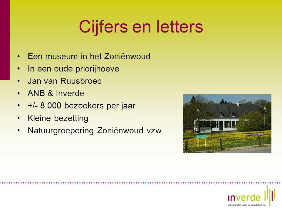Cijfers en letters •Een museum in het Zoniënwoud •In een oude priorijhoeve •Jan van Ruusbroec •ANB & Inverde •+/- 8.000 bezoekers per jaar •Kleine bezetting •Natuurgroepering Zoniënwoud vzw