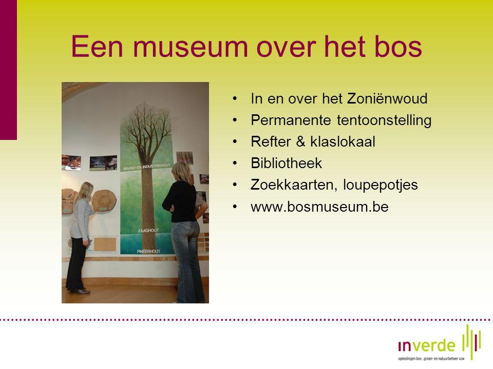 Een museum over het bos •In en over het Zoniënwoud •Permanente tentoonstelling •Refter & klaslokaal •Bibliotheek •Zoekkaarten, loupepotjes •www.bosmuseum.be