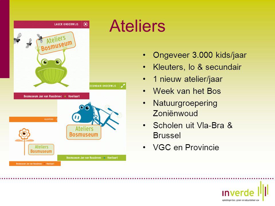 Ateliers •Ongeveer 3.000 kids/jaar •Kleuters, lo & secundair •1 nieuw atelier/jaar •Week van het Bos •Natuurgroepering Zoniënwoud •Scholen uit Vla-Bra & Brussel •VGC en Provincie