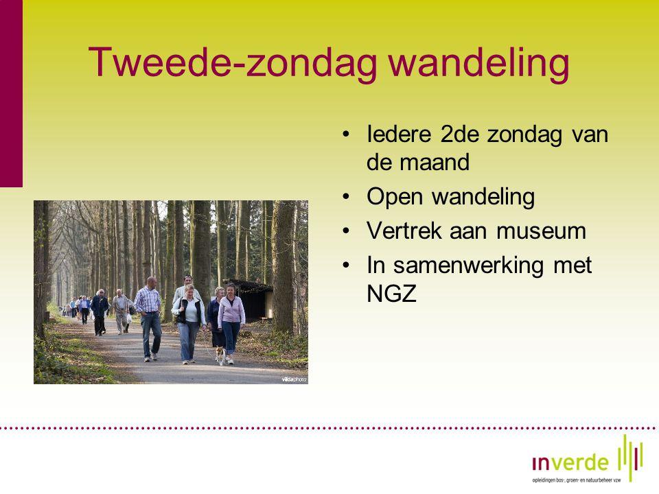 Tweede-zondag wandeling •Iedere 2de zondag van de maand •Open wandeling •Vertrek aan museum •In samenwerking met NGZ