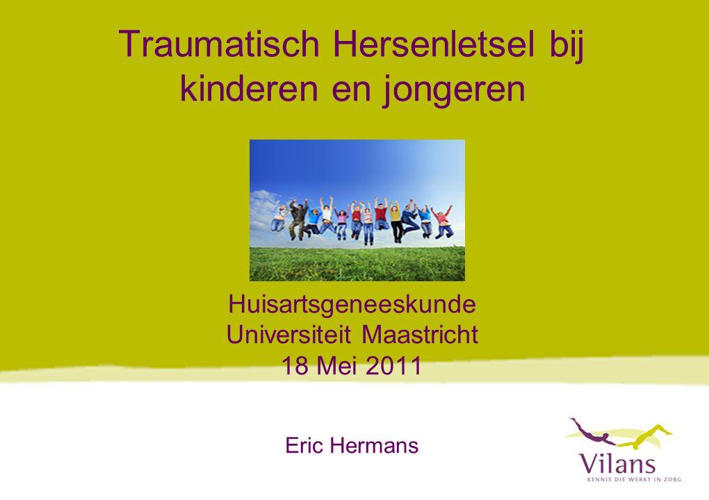 www.vilans.nl ONDERZOEK KINDEREN 3 JAAR NA REVALIDATIE Problemen gerapporteerd door ouders: Lichamelijke problemen49% Cognitieve problemen76% Gedragsproblemen52% Participatieproblemen36% 68% had problemen op meer dan één gebied (Hermans et al.