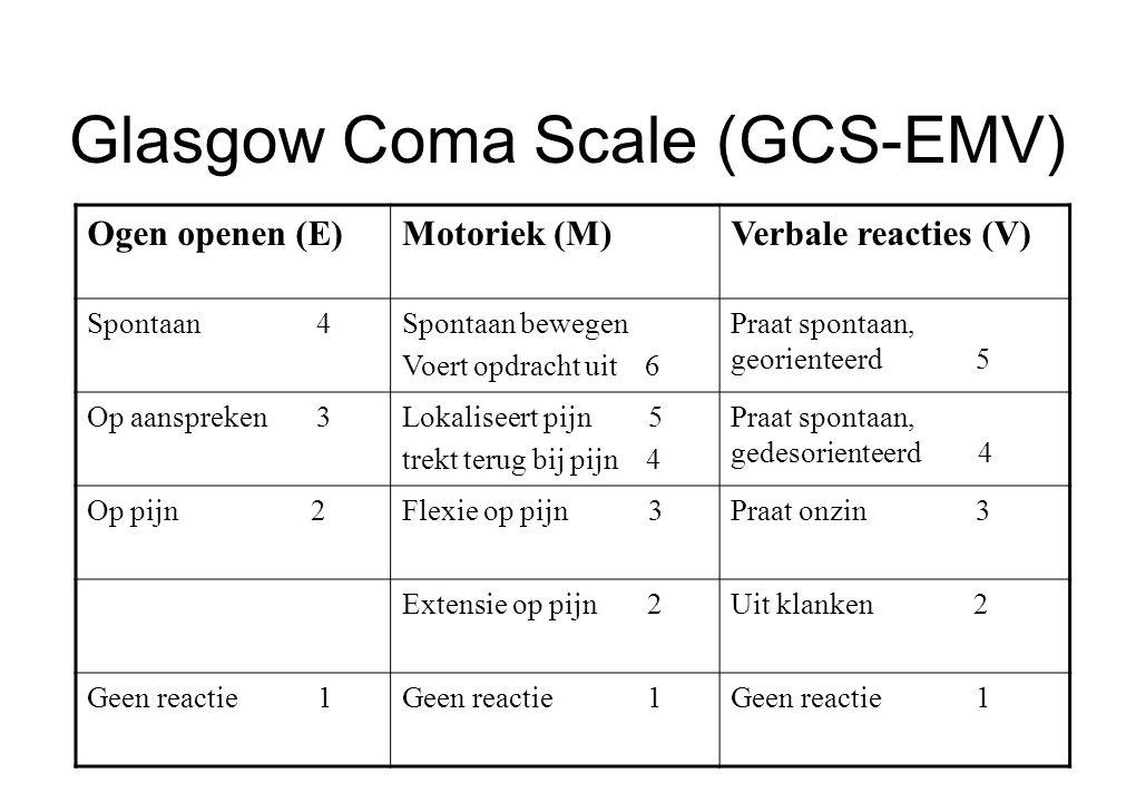 Glasgow Coma Scale (GCS-EMV) Ogen openen (E)Motoriek (M)Verbale reacties (V) Spontaan 4Spontaan bewegen Voert opdracht uit 6 Praat spontaan, georiente