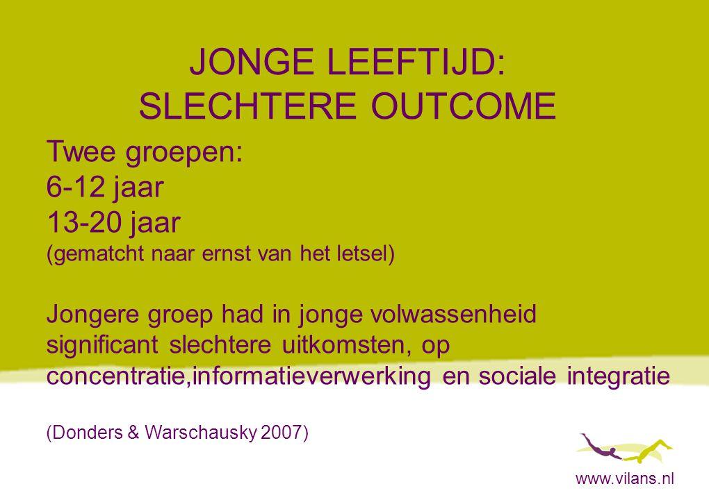 www.vilans.nl JONGE LEEFTIJD: SLECHTERE OUTCOME Twee groepen: 6-12 jaar 13-20 jaar (gematcht naar ernst van het letsel) Jongere groep had in jonge vol