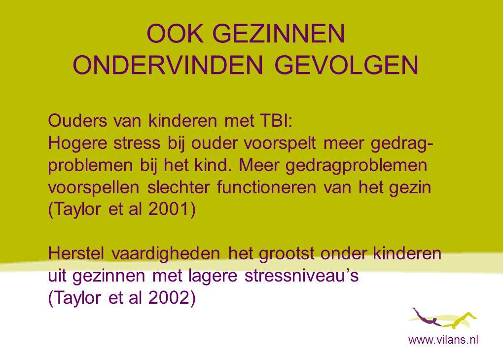 www.vilans.nl OOK GEZINNEN ONDERVINDEN GEVOLGEN Ouders van kinderen met TBI: Hogere stress bij ouder voorspelt meer gedrag- problemen bij het kind. Me