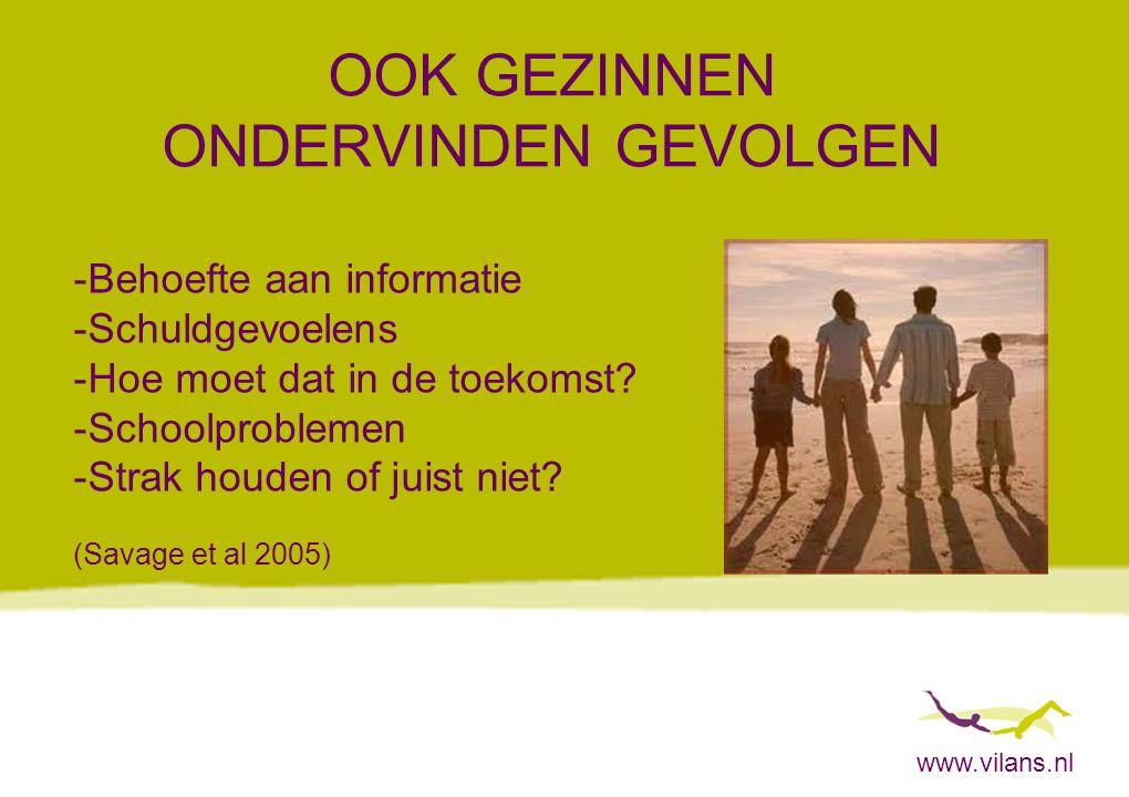 www.vilans.nl OOK GEZINNEN ONDERVINDEN GEVOLGEN -Behoefte aan informatie -Schuldgevoelens -Hoe moet dat in de toekomst? -Schoolproblemen -Strak houden
